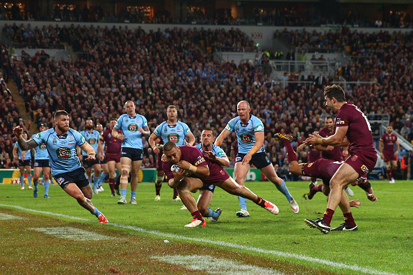 BRISBANE, AUSTRALIA - JULY 08:  Josh Papalii of the Maroons scores a try during game three of the State of Origin series between the Queensland Maroons and the New South Wales Blues at Suncorp Stadium on July 8, 2015 in Brisbane, Australia.  (Photo by Cameron Spencer/Getty Images)